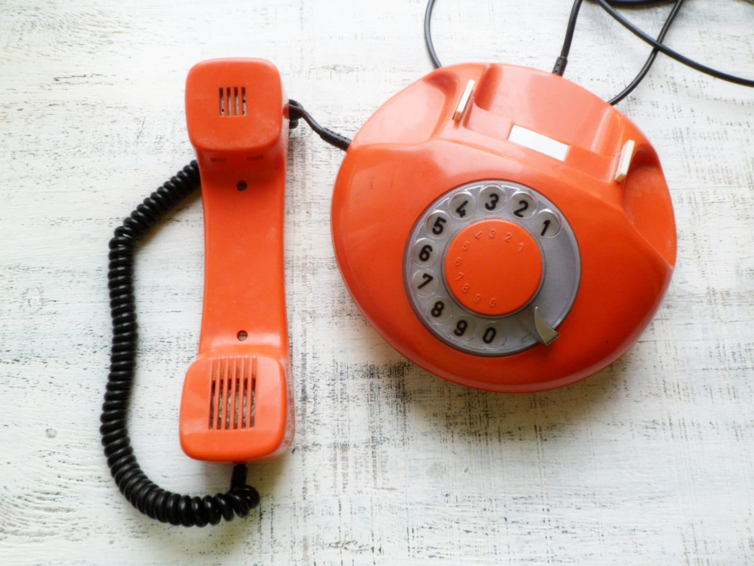Vintage rotary phone, orange rotary phone, dial phone, Czechoslovakia, 1970s - HandyHappyVintage