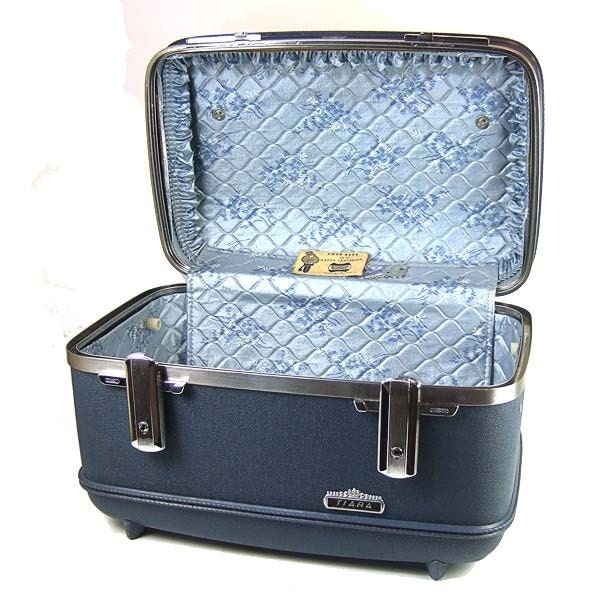 Etsy :: mysweetiepiepie :: VINTAGE Blue American Tourister Tiara Makeup Train Cosmetic Case... Retro Hardsided Carry-On Suitcase with Original Key from etsy.com