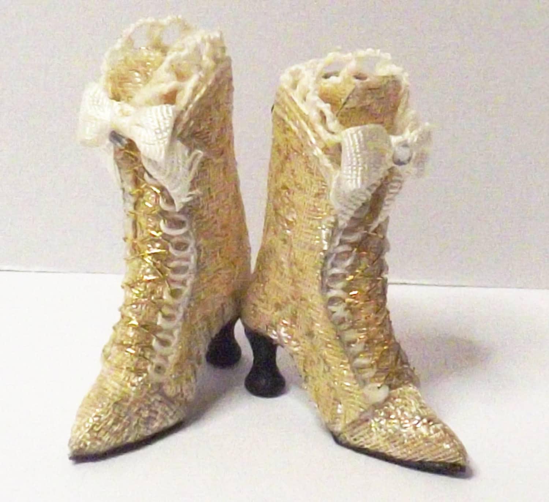 Miniature Cream  Gold Silk Brocade Dolls House Boots