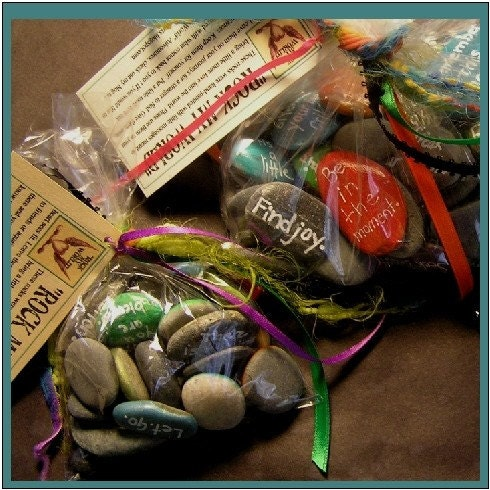 Rock My World Hand Painted  Rock Bag of 60