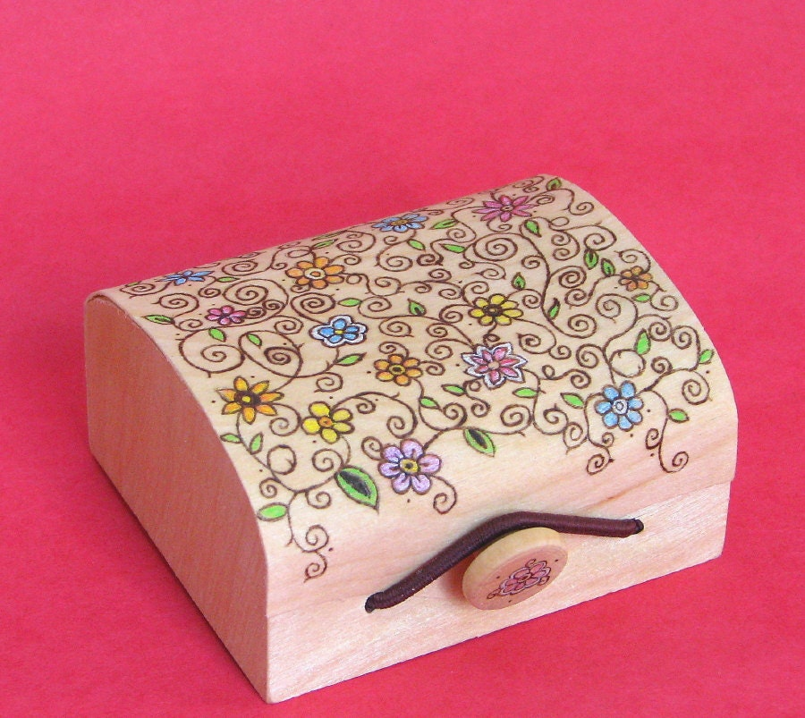 RESERVED for WIN IT treasury - treasure box - wood pyrography - spring themed trinket jewelry box