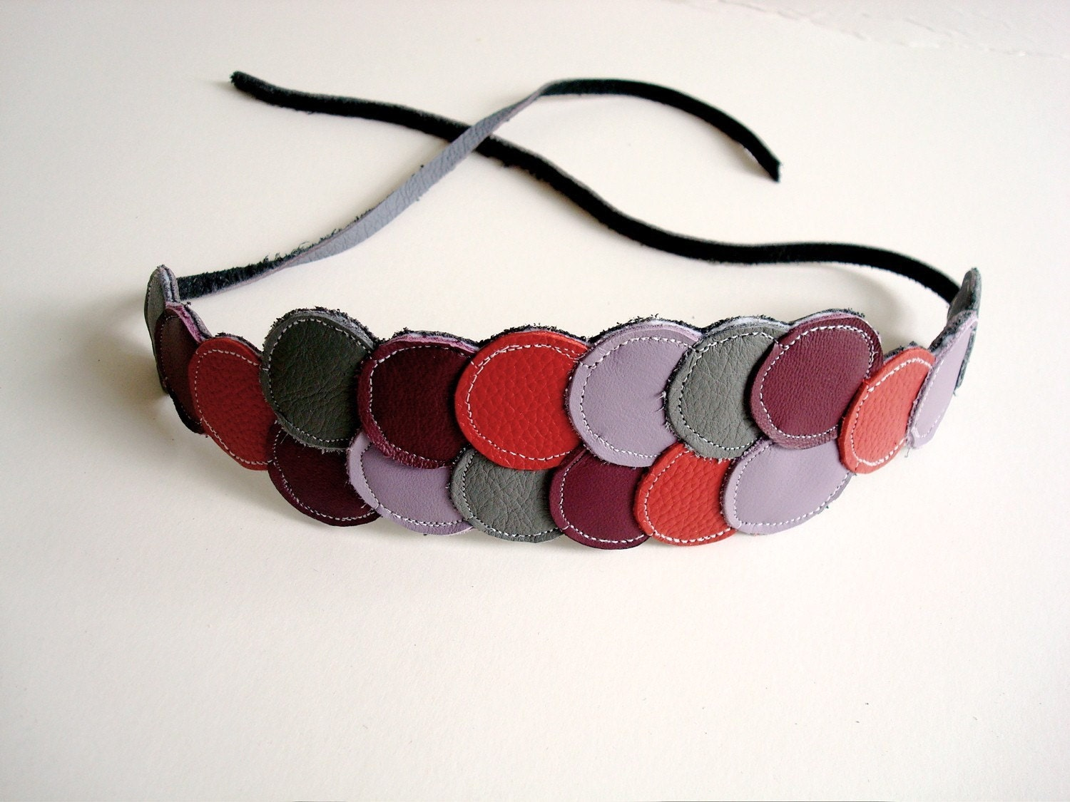 Leather Circles Headband - purples