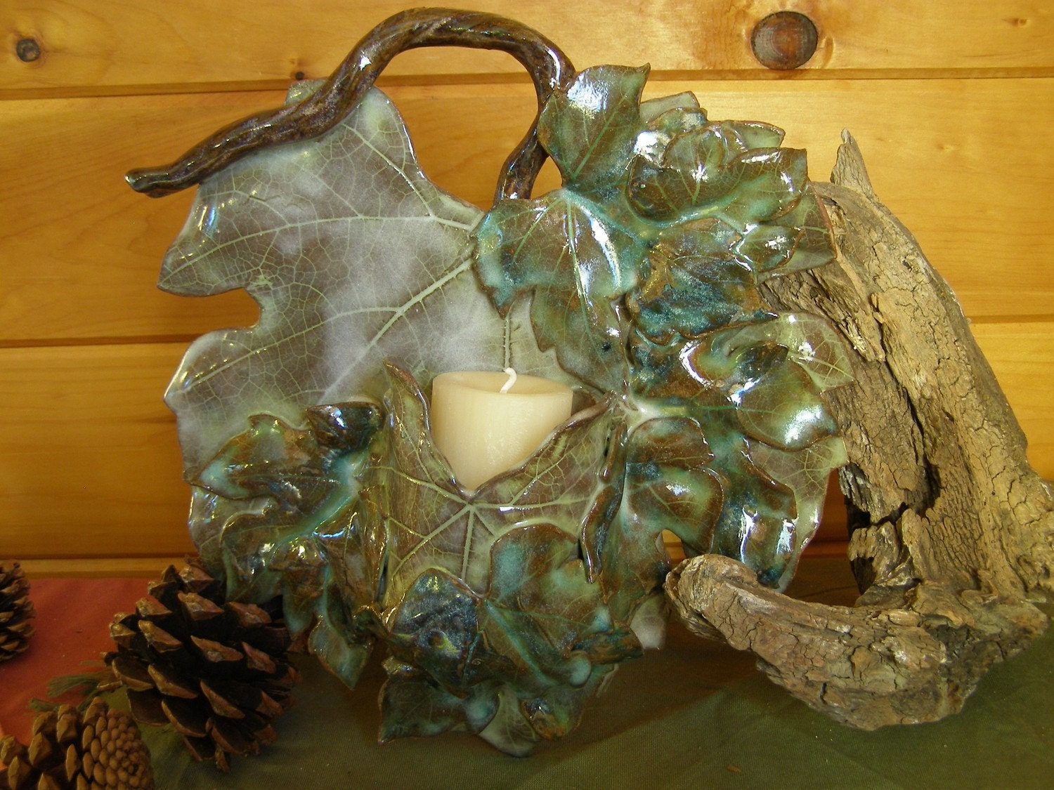 Warm Coffee Brown and Shades of Turquoise Grape Leaves Candle Wall Sconce