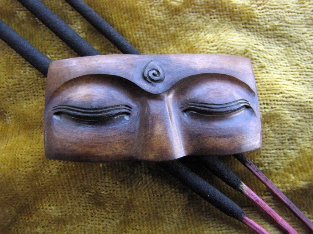 Buddha Eyes 40mm Brown Carved Bone Cabochon