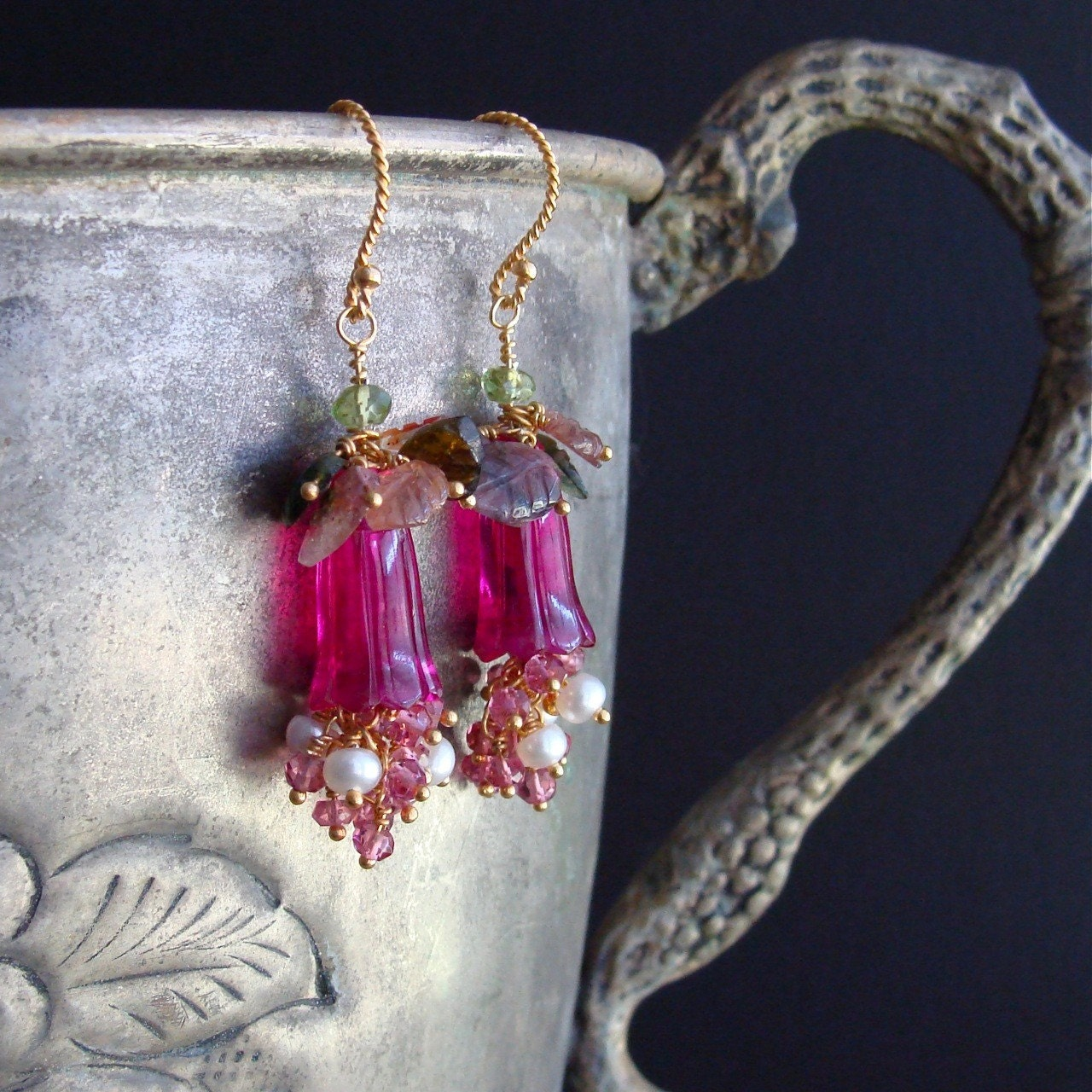 Veronica Earrings - Carved Hot Pink Quartz Flowers, Hot Pink Topaz, Button Pearls and Watermelon Tourmaline Carved Leaves