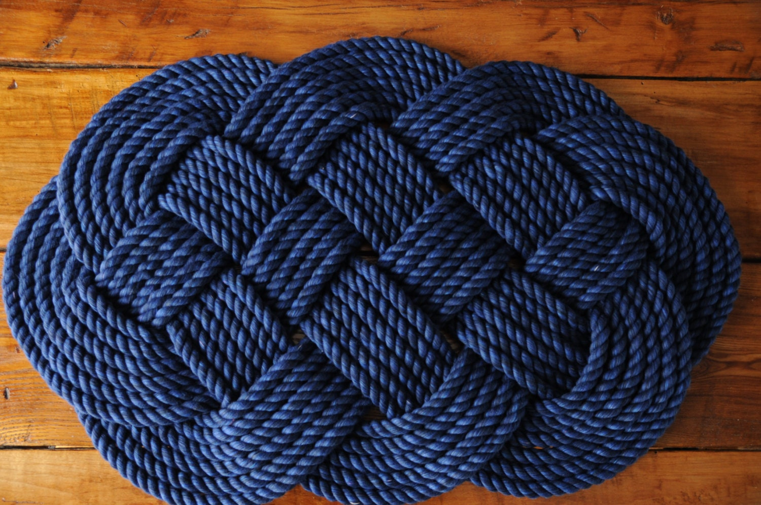 Nautical decor navy rope rug navy bath mat cotton by oyknot for Rope bath mat