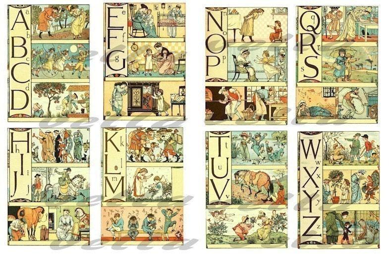 antique alphabet letters picture book by digitalgraphicsshop With antique alphabet letters