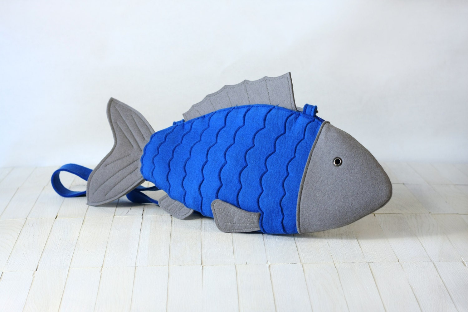 Blue Felt Fish Bag Fish Purse - krukrustudio