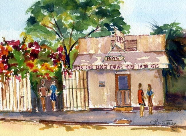 Pepe's, Key West , Limited Edition Watercolor Print