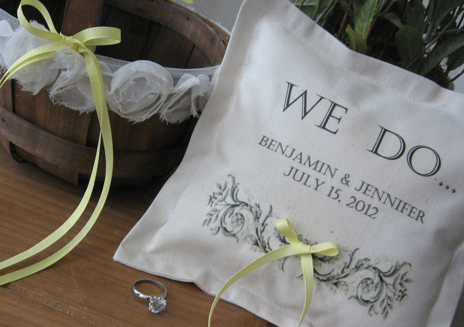Personalized Ring Bearer Pillow and Flower Girl Basket SET, Custom Lettering, Wedding