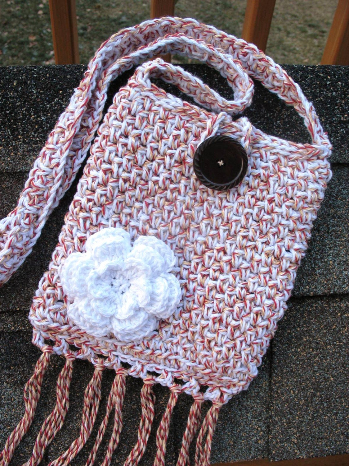 Crochet Crossbody Bag Pattern : Items similar to Crochet Cross-Body Bag/ Purse/ Pouch in Cotton, Fully ...