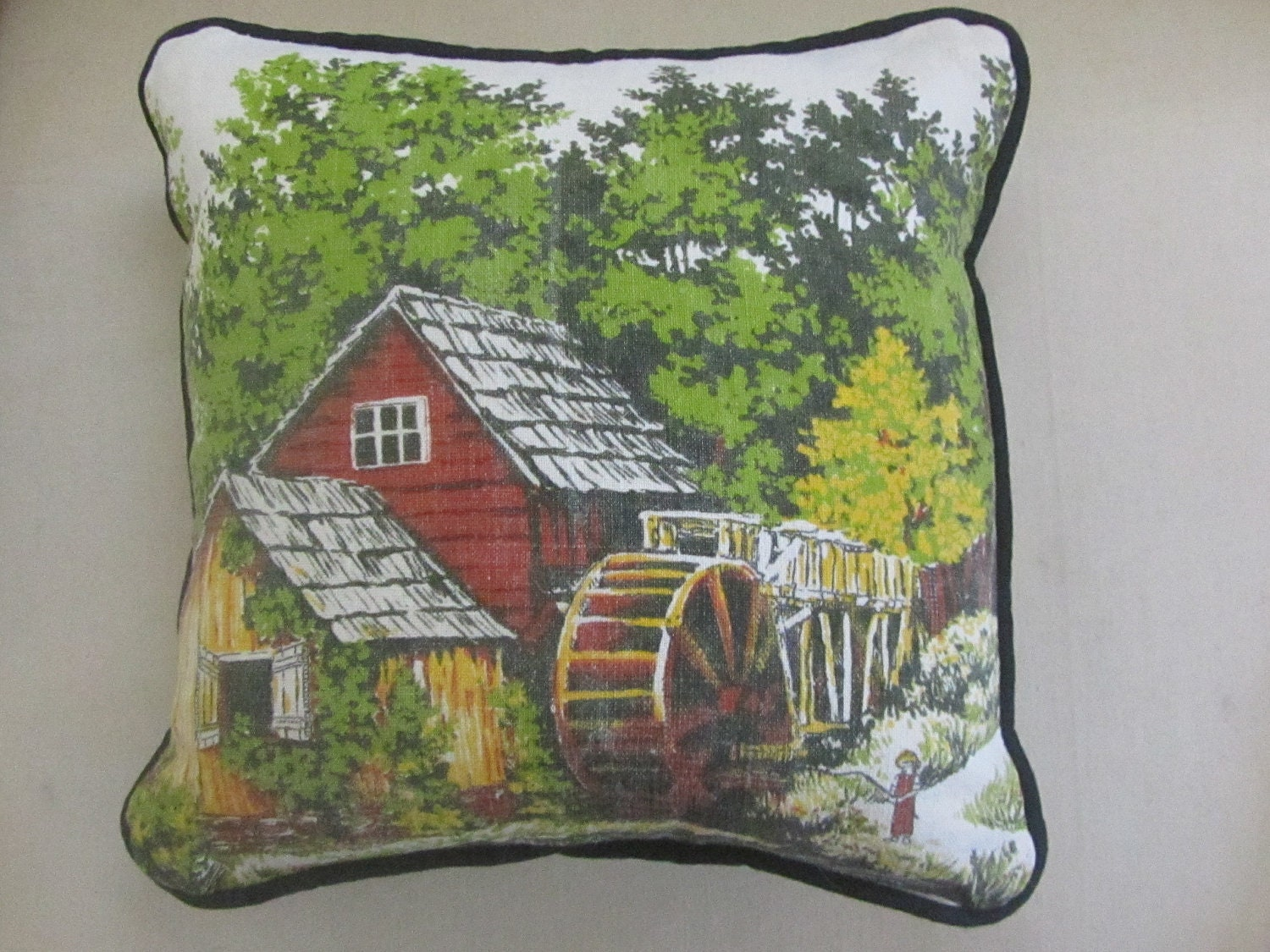 Vintage Water Wheel Mill with Barn scene calendar linen pillow- Fall pillow, water wheel, old mill, barn, woodland pillow, country