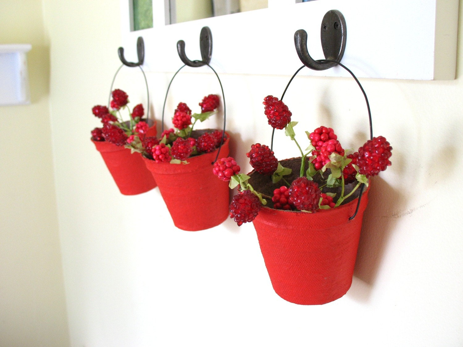 SALE .  posy baskets in poppy red . four papier mache vintage-inspired candy  containers