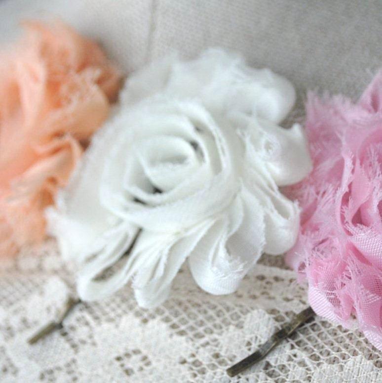 Sherbet Colors Ruffled Flower Hair Bobby Set Tangerine White and Pink - vintageincolor