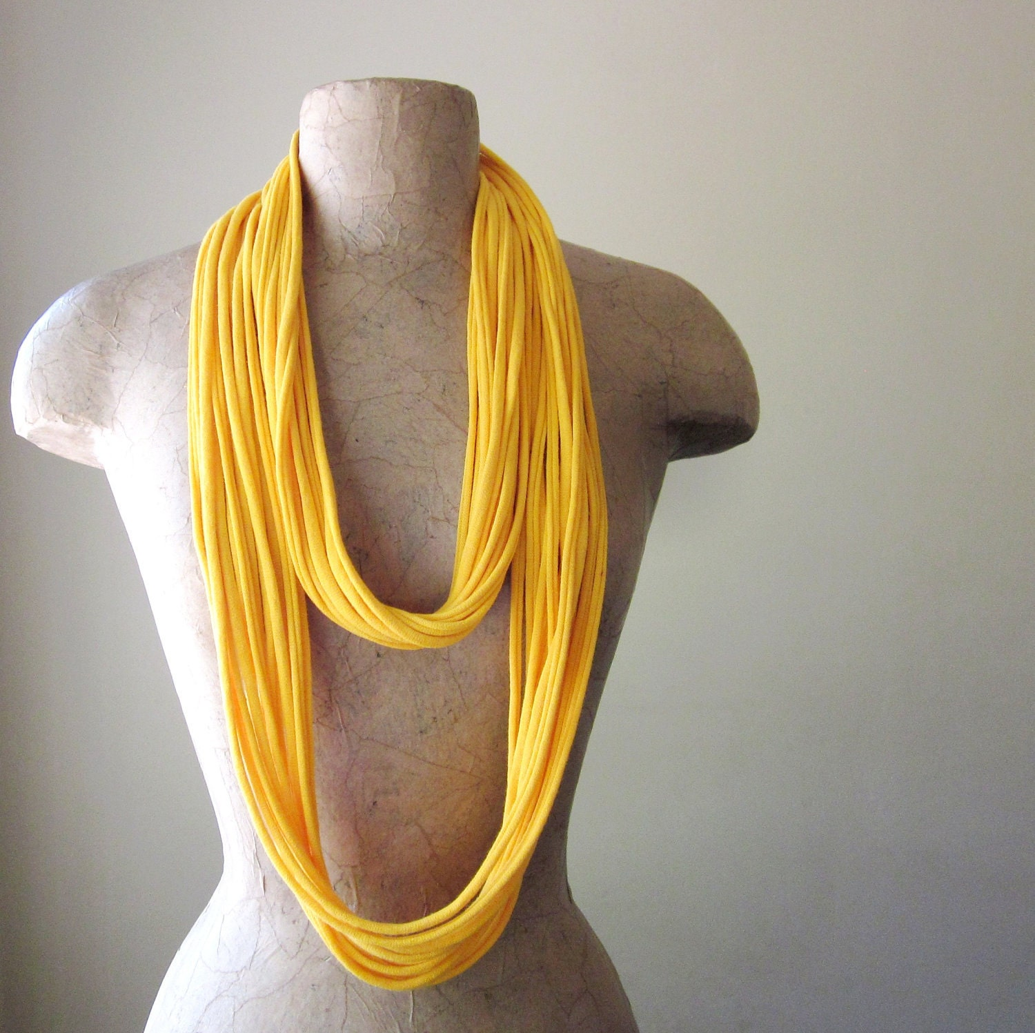 THE LONG SKINNY cotton scarf necklace in goldenrod yellow