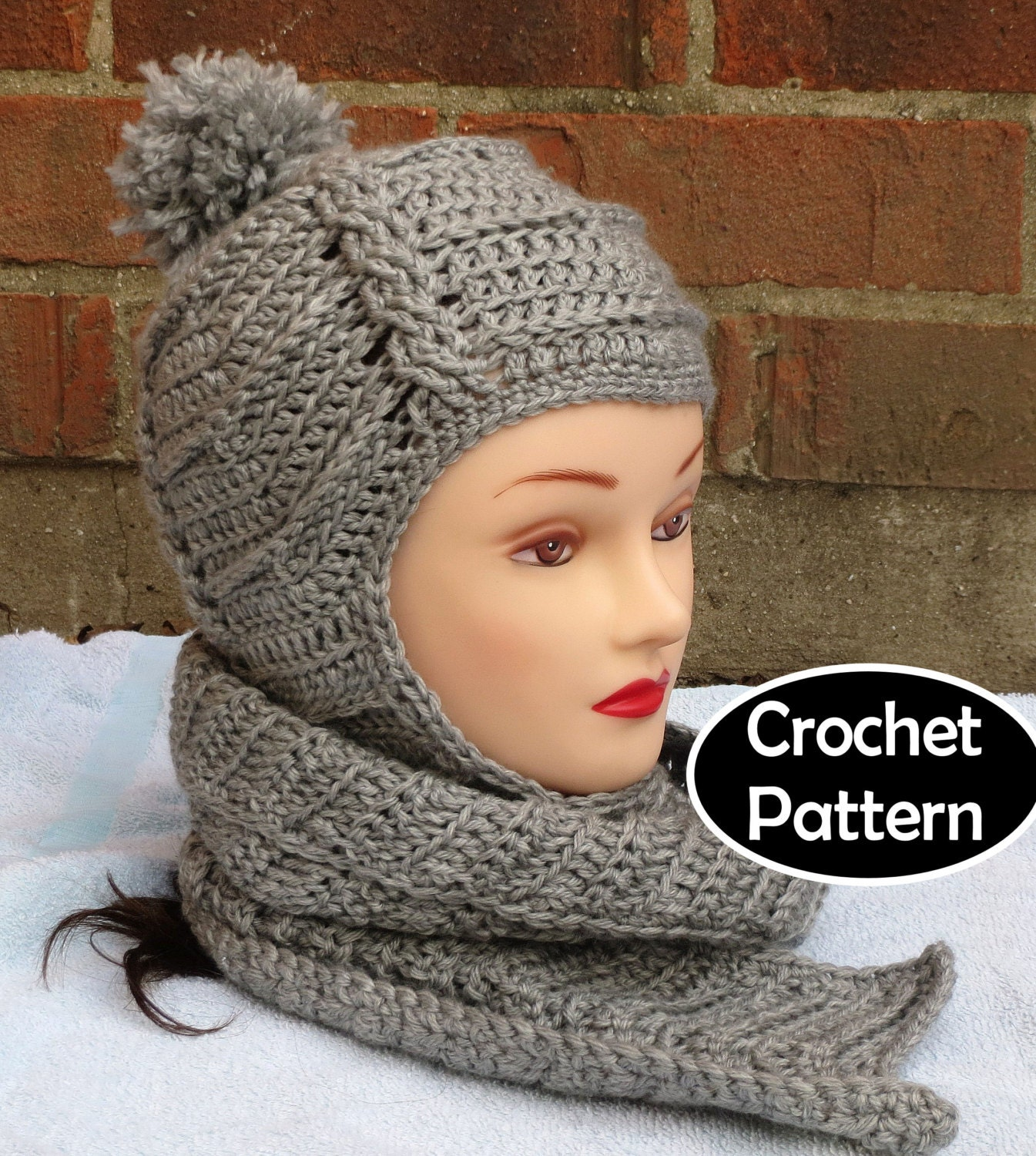 Crochet Pattern Hat Scarf Combo : Popular items for scarf hat on Etsy