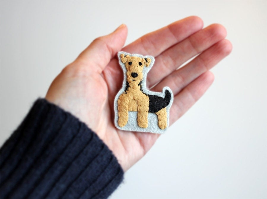 Welsh Terrier Dog Brooch, Animal Brooch, Airedale Felt Pin - myhideaway