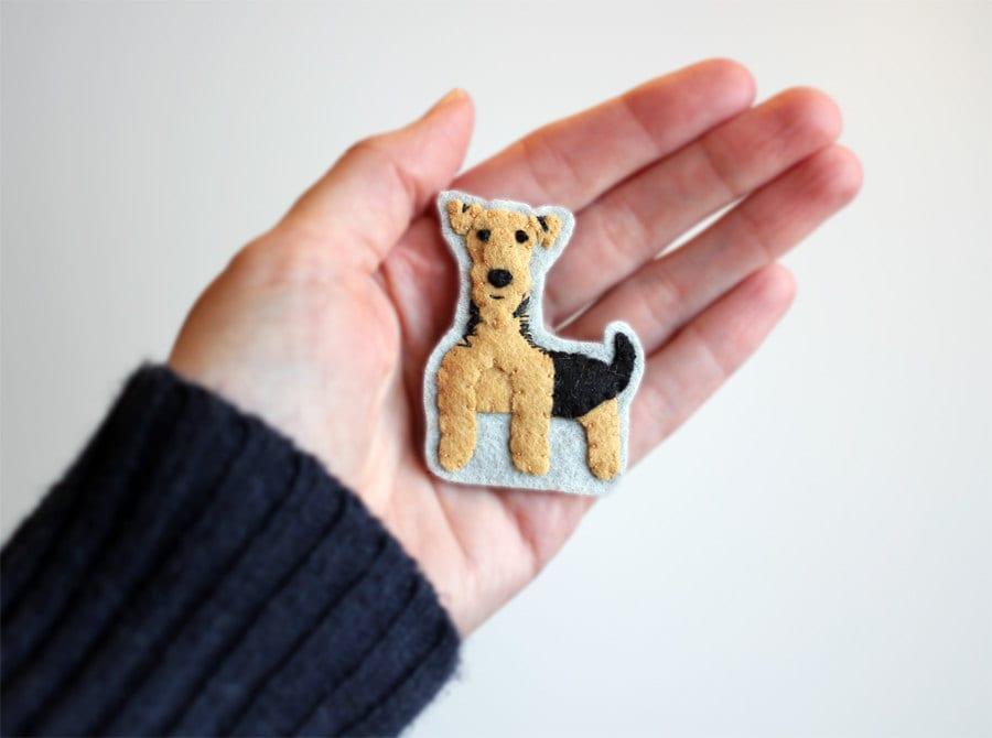 Welsh Terrier Dog Brooch, Animal Brooch, Airedale Felt Pin - myhideaway