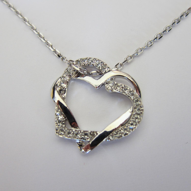 shiny rhodium swirl rhinestone heart necklace by. Black Bedroom Furniture Sets. Home Design Ideas
