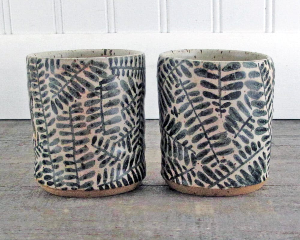 Stoneware Tumbler Pair  - Black and White - Set of Two
