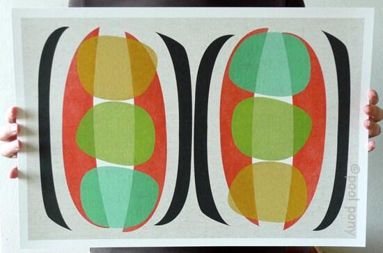 mid century design, modern art, print, pea pods, 12 x 18 inch, giclée print.