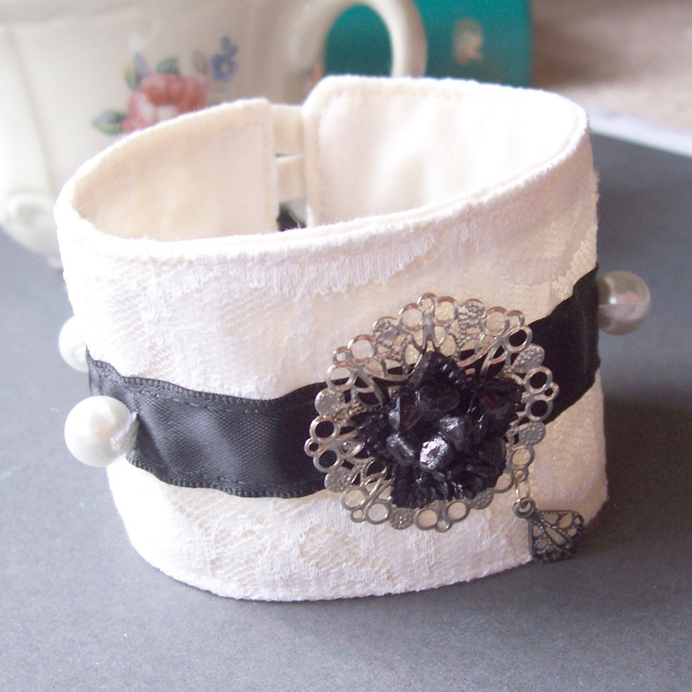 Fabric Cuff. Black Tie. Bracelet. Vintage Flower Cabochon. Lace. Ribbon. Black and White  by dspdavey on Etsy