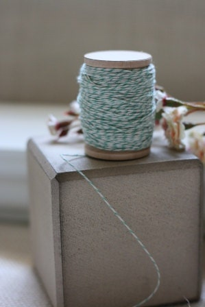 seafoam green BAKERS TWINE x 20 yards on vintage style wooden spool, string for tags, packaging string