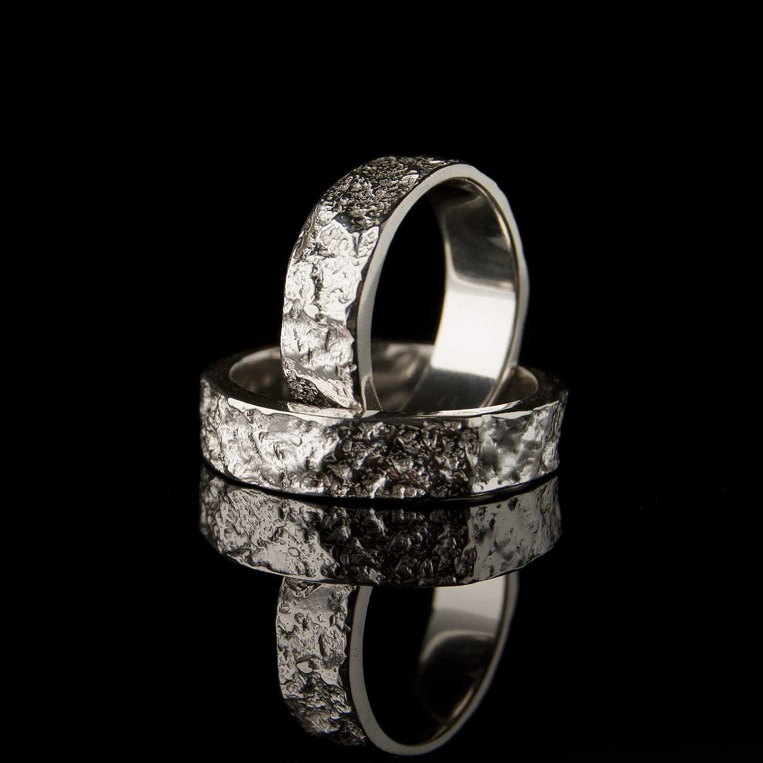 wedding rings bush hammered marble textured by With marble wedding ring