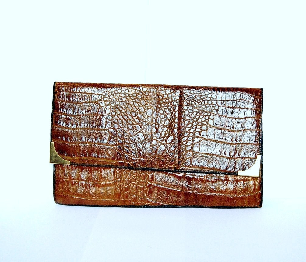 Vintage light brown leather clutch from Germany by spacejam from etsy.com
