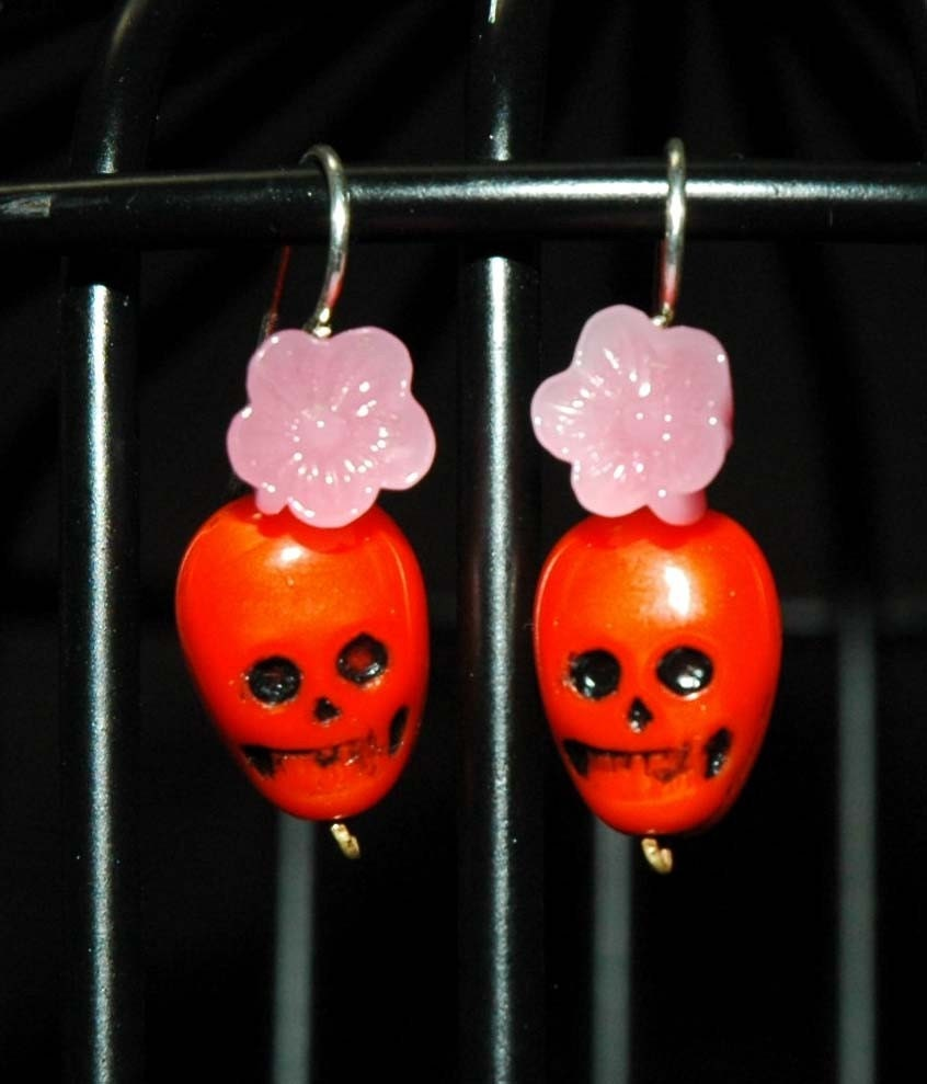 Orange and Pink Muerte Earrings