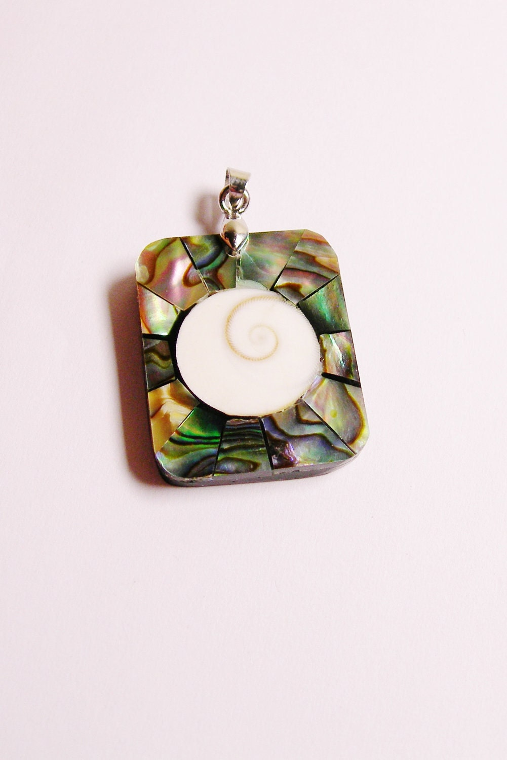 Abalone and shiva eye seashell  pendant focal bail included 1 pcs natural