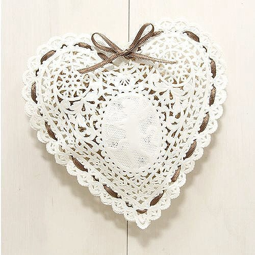 Heart shaped Paper Doily - angel (10 sheets)