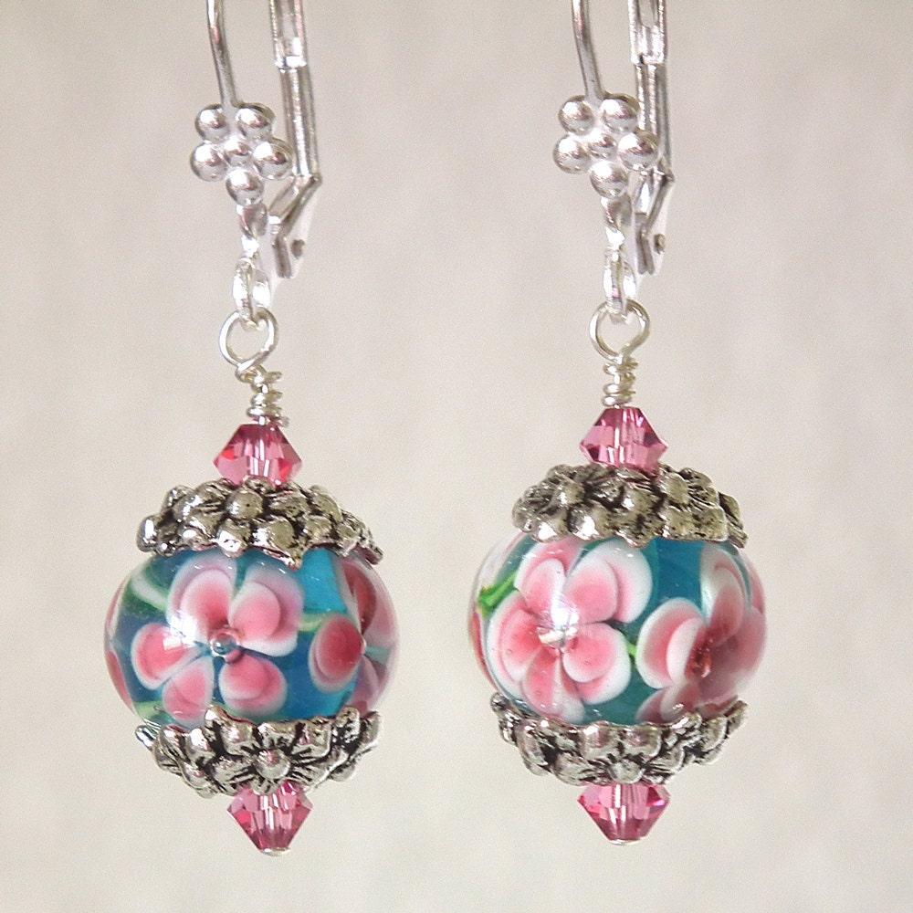 Caribbean Flower Lampwork Earrings