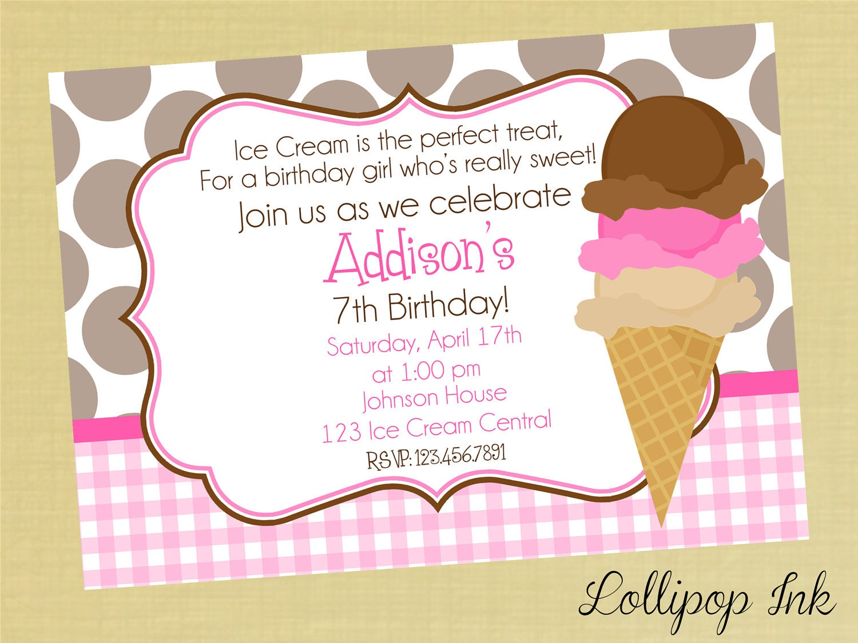 ice cream cone printable birthday invitation ice by