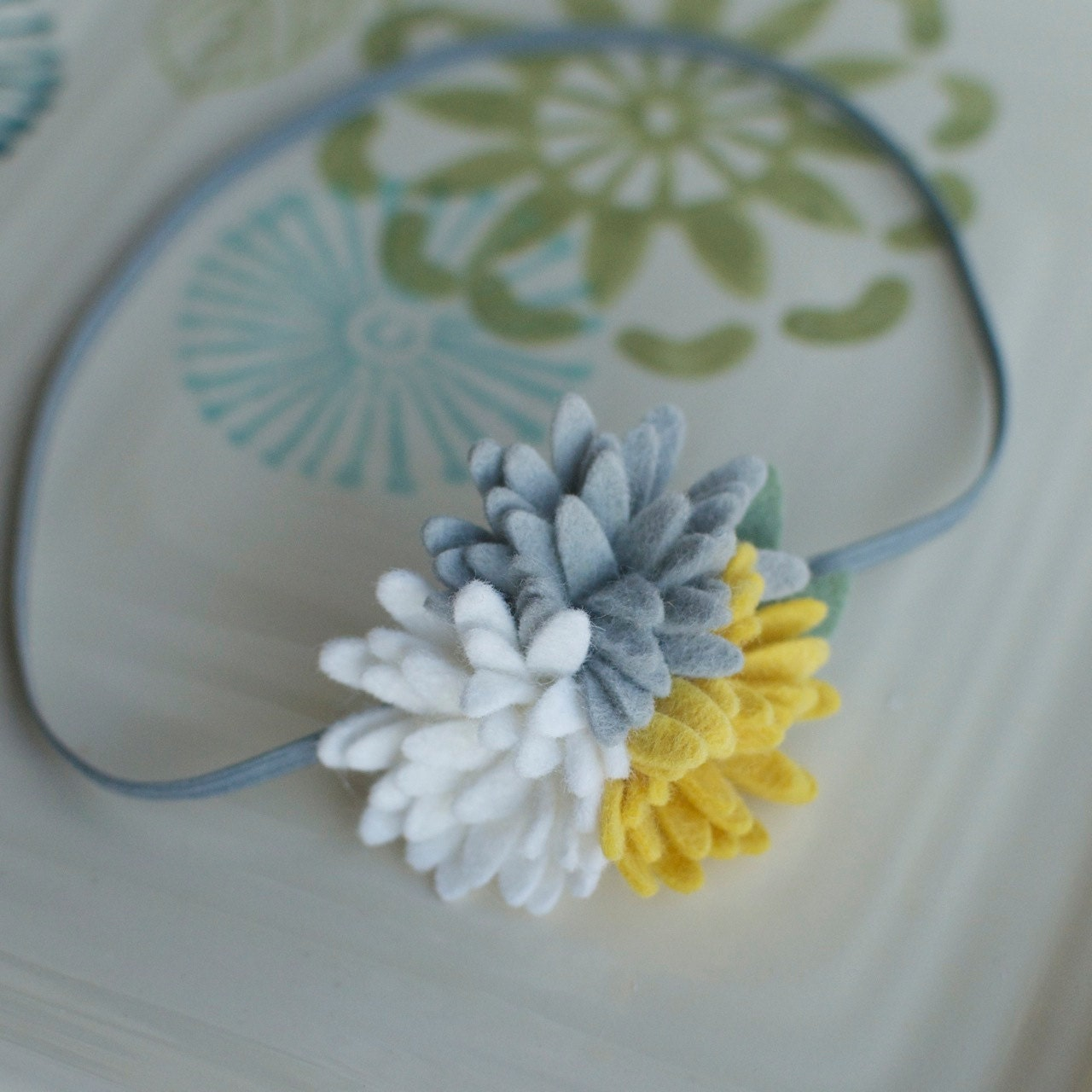 Grey Yellow and White Felt Flower Mums Headband- Perfect Newborn Photo Prop - MyLittlePixies