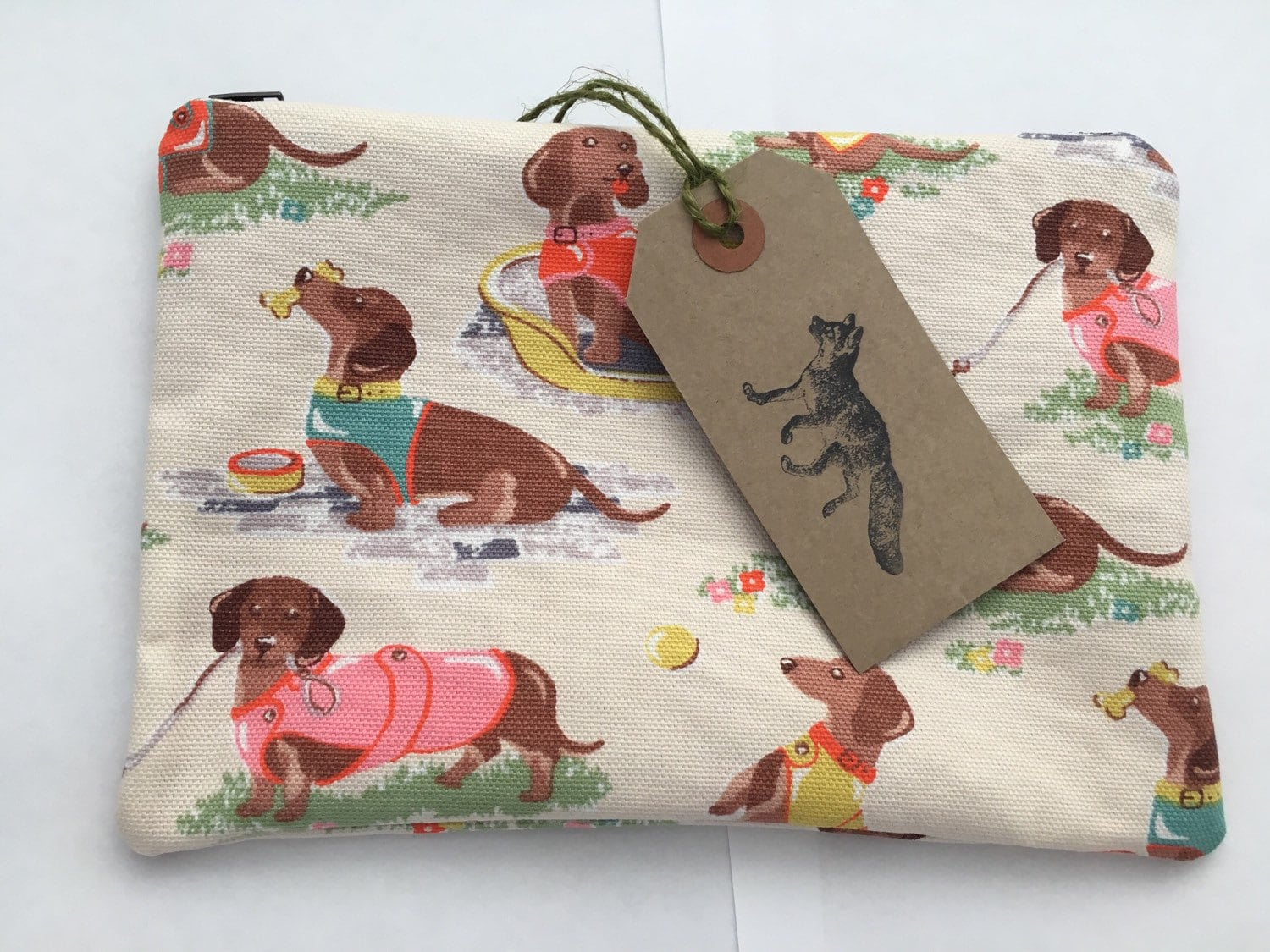 Large make up bag Cath Kidston sausage dogs design handmade and fully lined.
