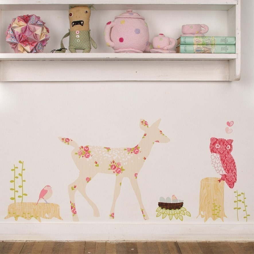 Oh Deer (girly) - Reusable Fabric Wall Decals (not vinyl)