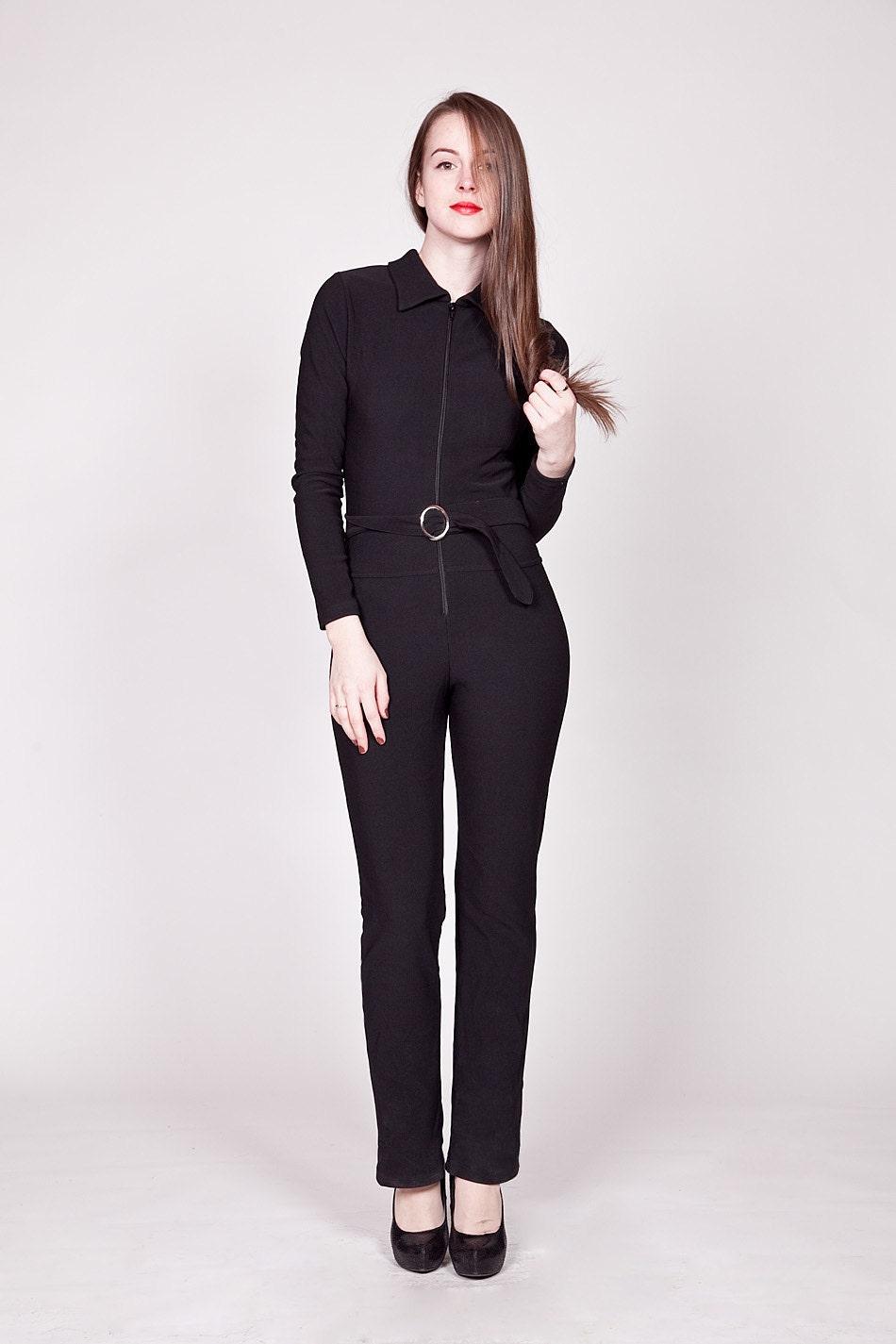vintage 1980s jumpsuit black one piece belted by. Black Bedroom Furniture Sets. Home Design Ideas