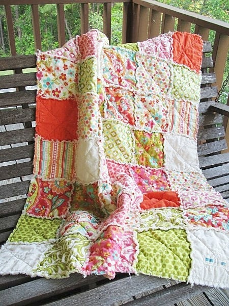 Crib Rag Quilt,  Sweet Nothings, Green and Pink