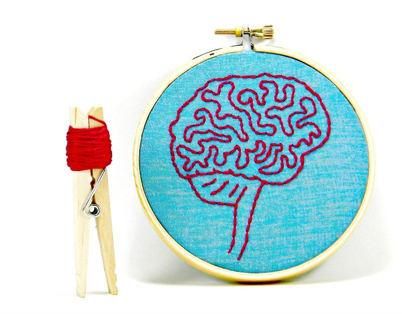 Blue and Pink Brain Anatomy Mini Hoop Art. Hand Embroidered.