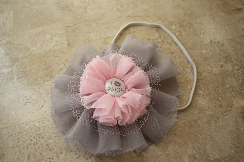 Серый и розовый я люблю Париж головная повязка