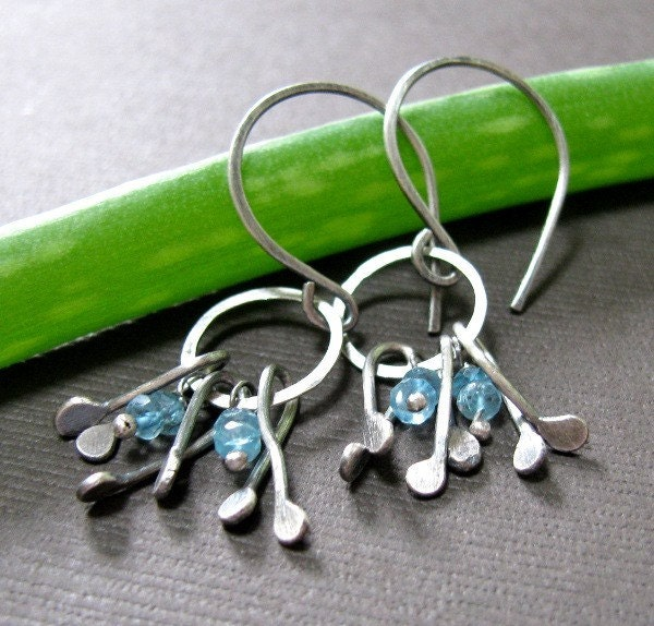 Blue Topaz and Sterling Silver - Faded Denim Earrings