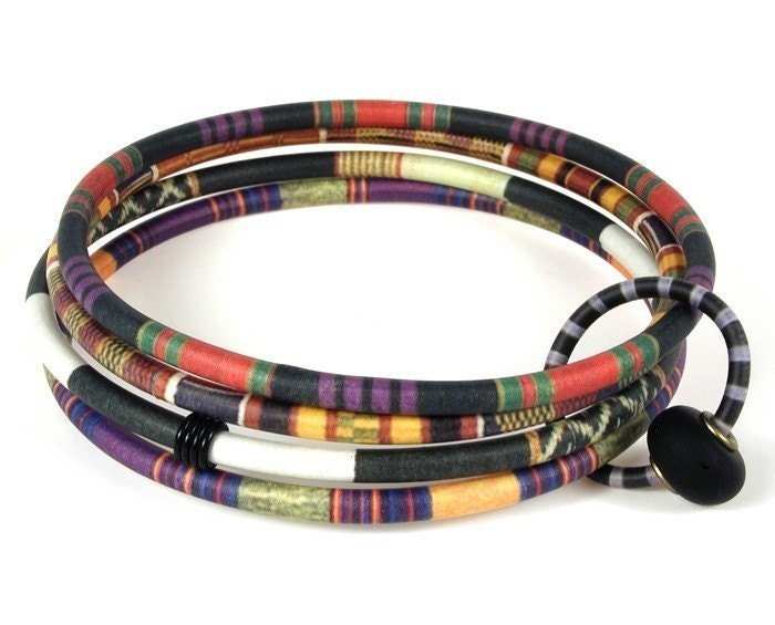 Four Bangle Bracelet with African Textile Patterns