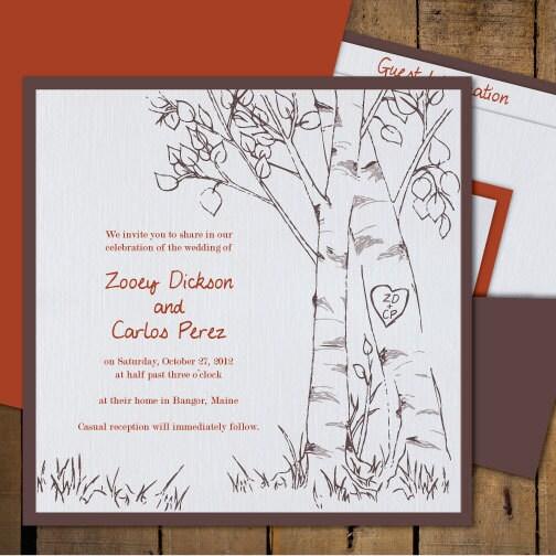 birch trees wedding invitations fall or spring wedding - Informal Wedding Invitations