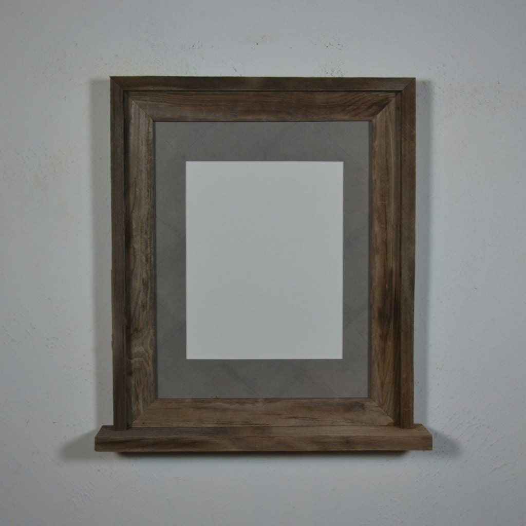 11x14 Wood Frame With Mat For 8x10 And A Small Shelf By