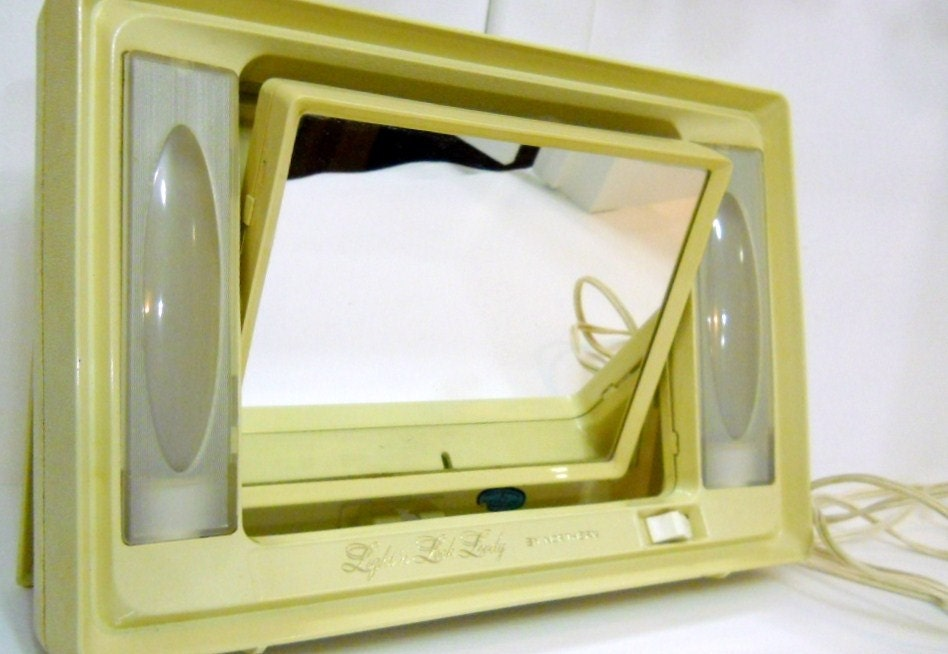 Vintage Vanity Mirror With Lights : Vanity light Mirror Vintage Bakelite 1960s by PerfectlyGoodStuff