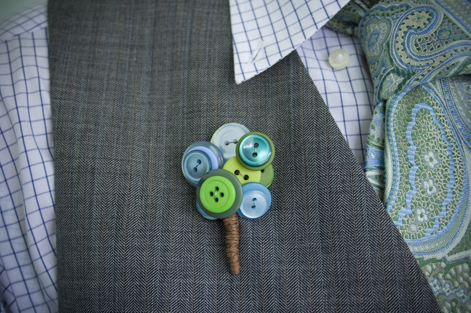 Blue Green Button Boutonniere