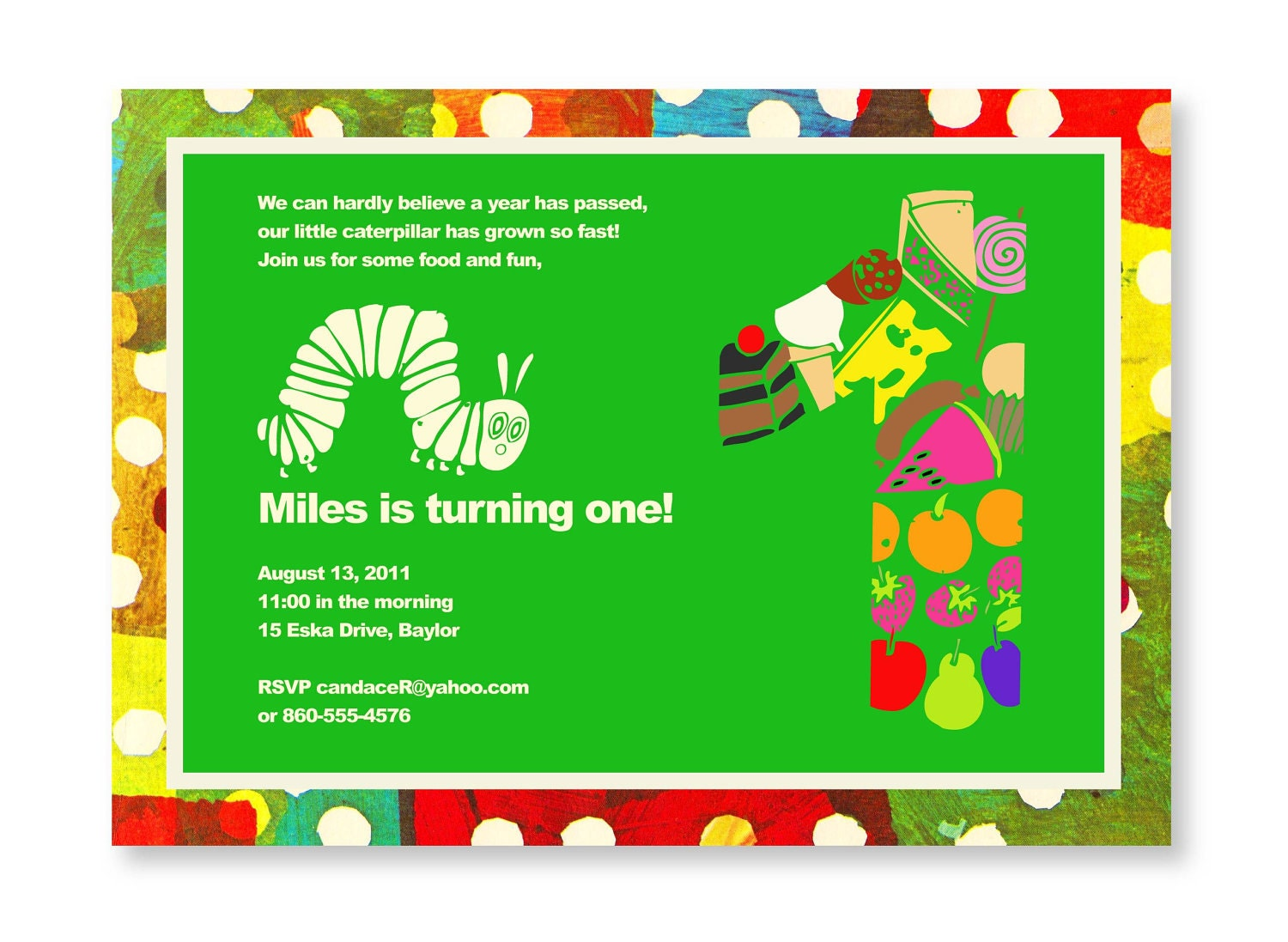First birthday party photos Very Hungry Caterpillar Theme – Eric Carle Birthday Invitations