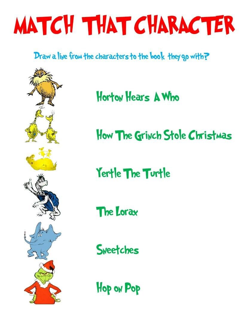 Dr. Seuss Match That Character Game by AllThingsParty on Etsy