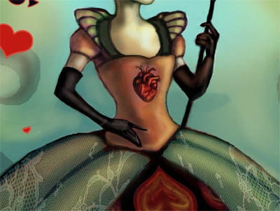 Dark Queen of hearts Painting Alice in Wonderland Fantasy Art print